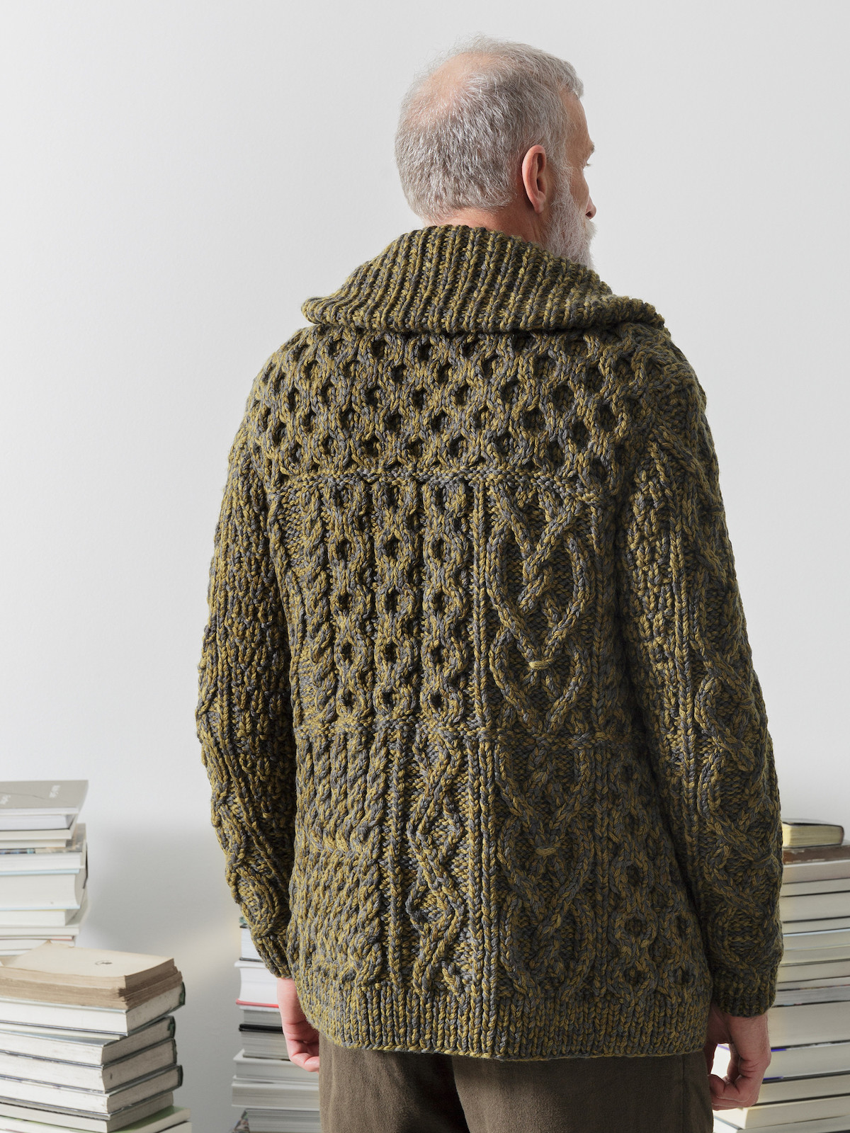 Shawl collar patchwork cardigan Image