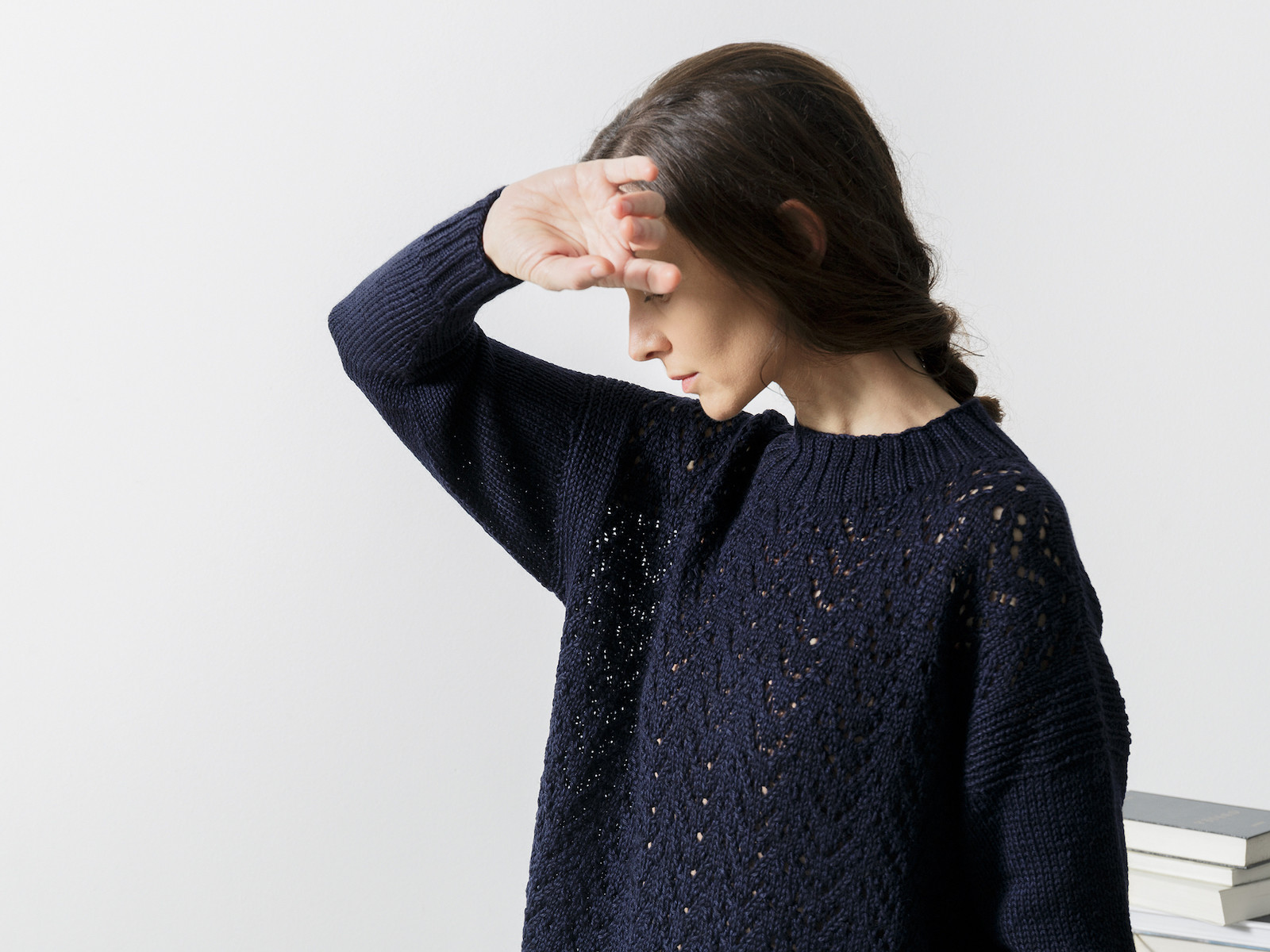 Cropped lacy knit sweater Image