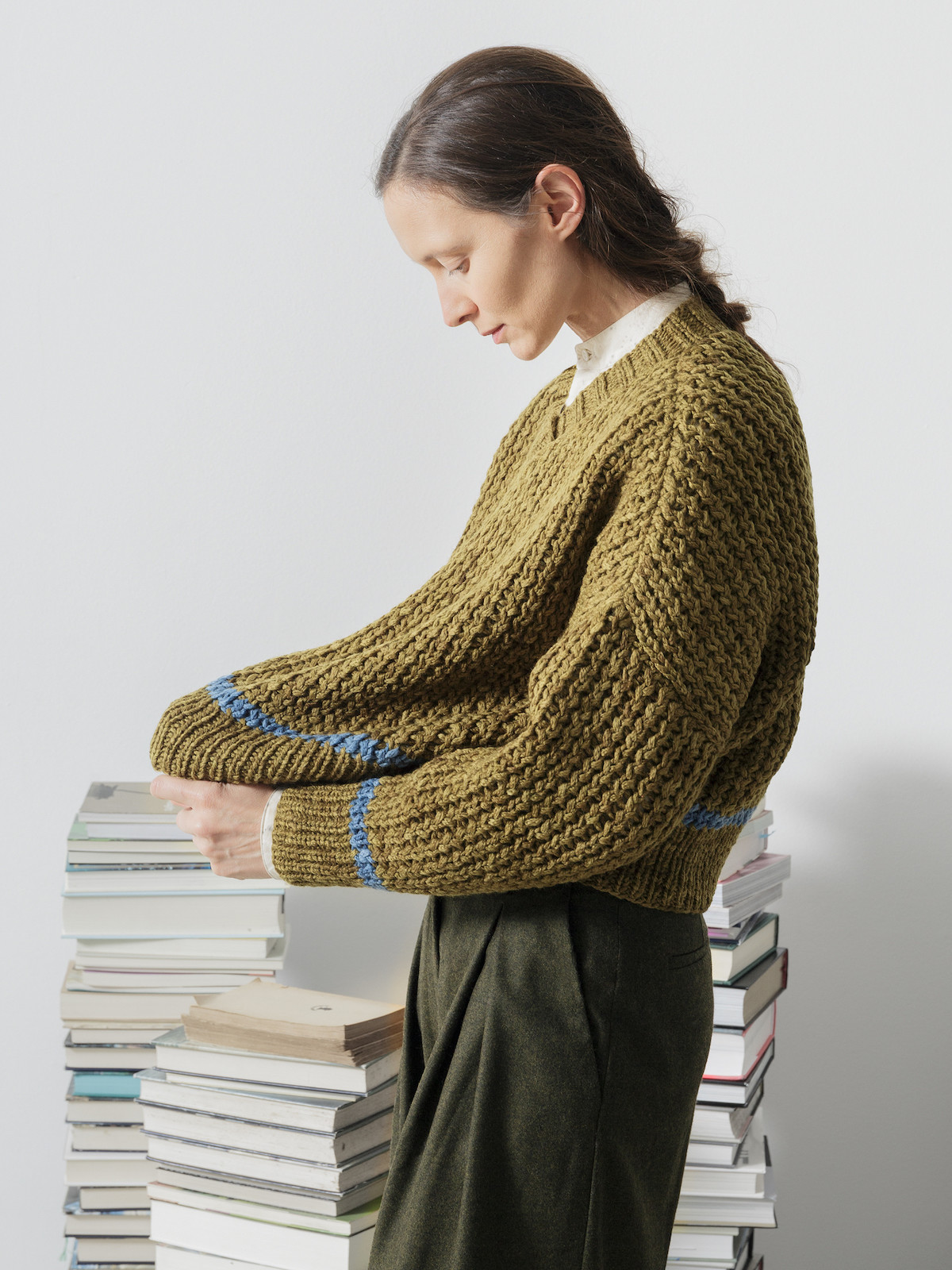Open-knit v-neck sweater Image