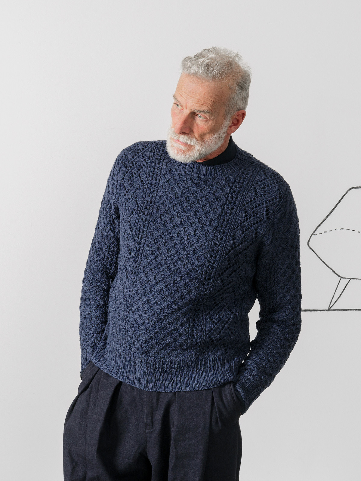 Crew-neck patterns sweater Image