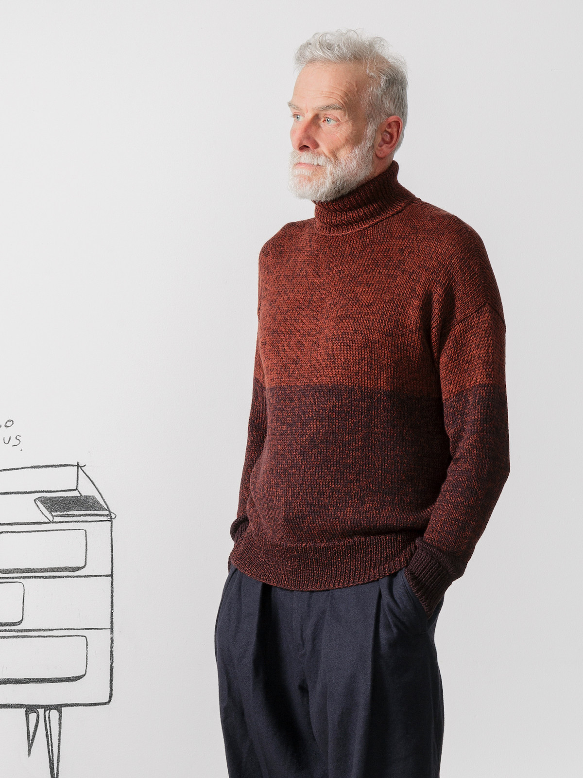 Roll-neck blocks sweater