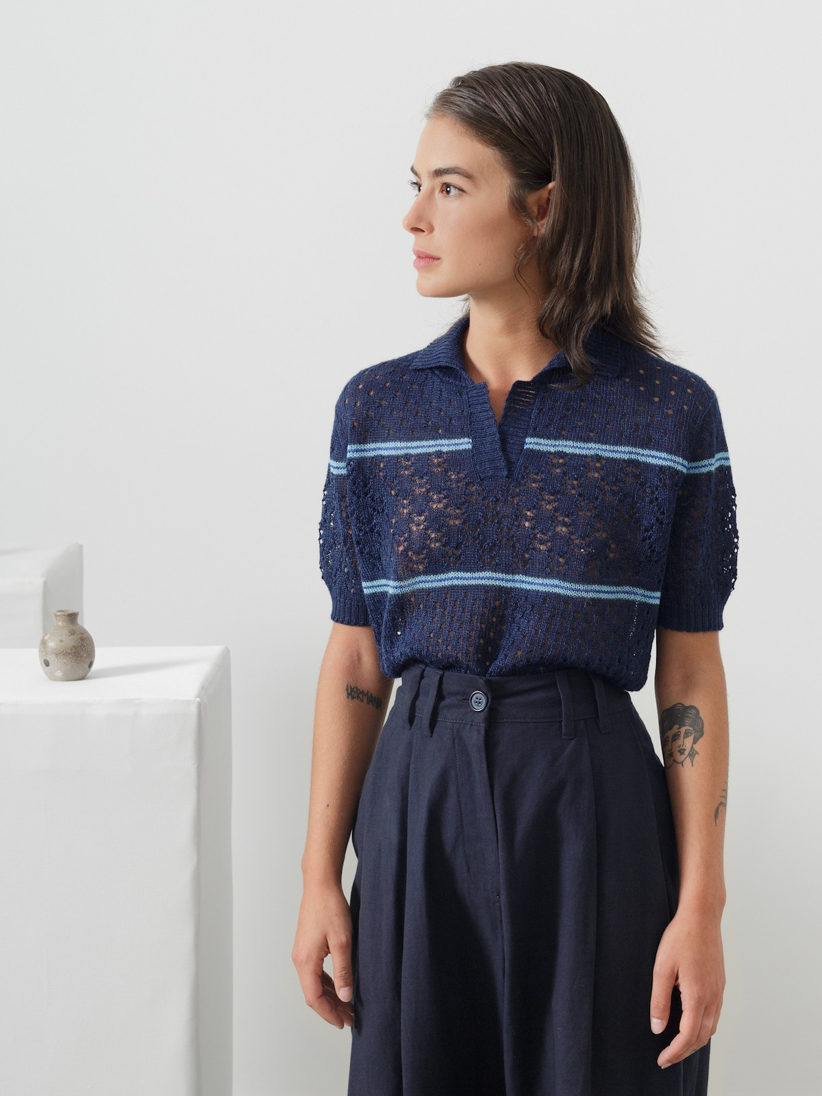 Lacy striped polo Image