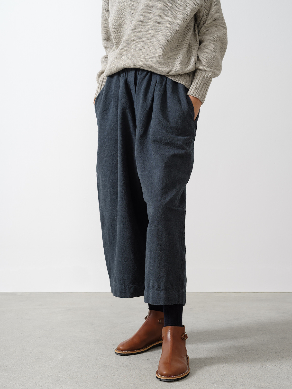 Ink wool cotton maxi trousers II Image