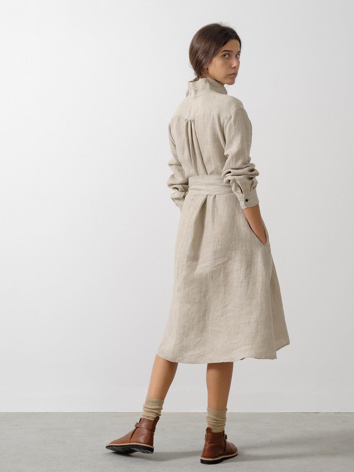 Linen belted dress Image
