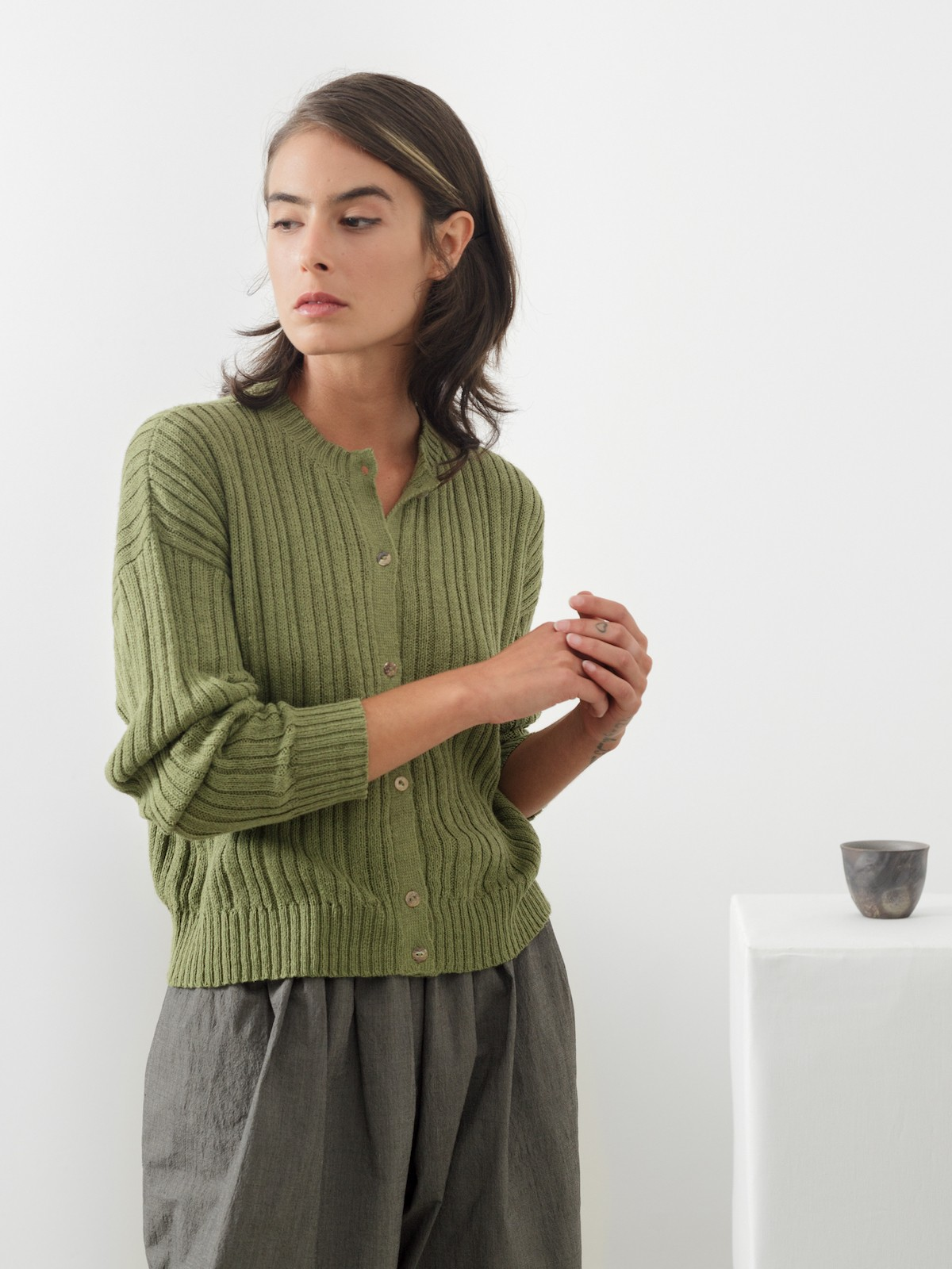 Ribbed linen cardigan