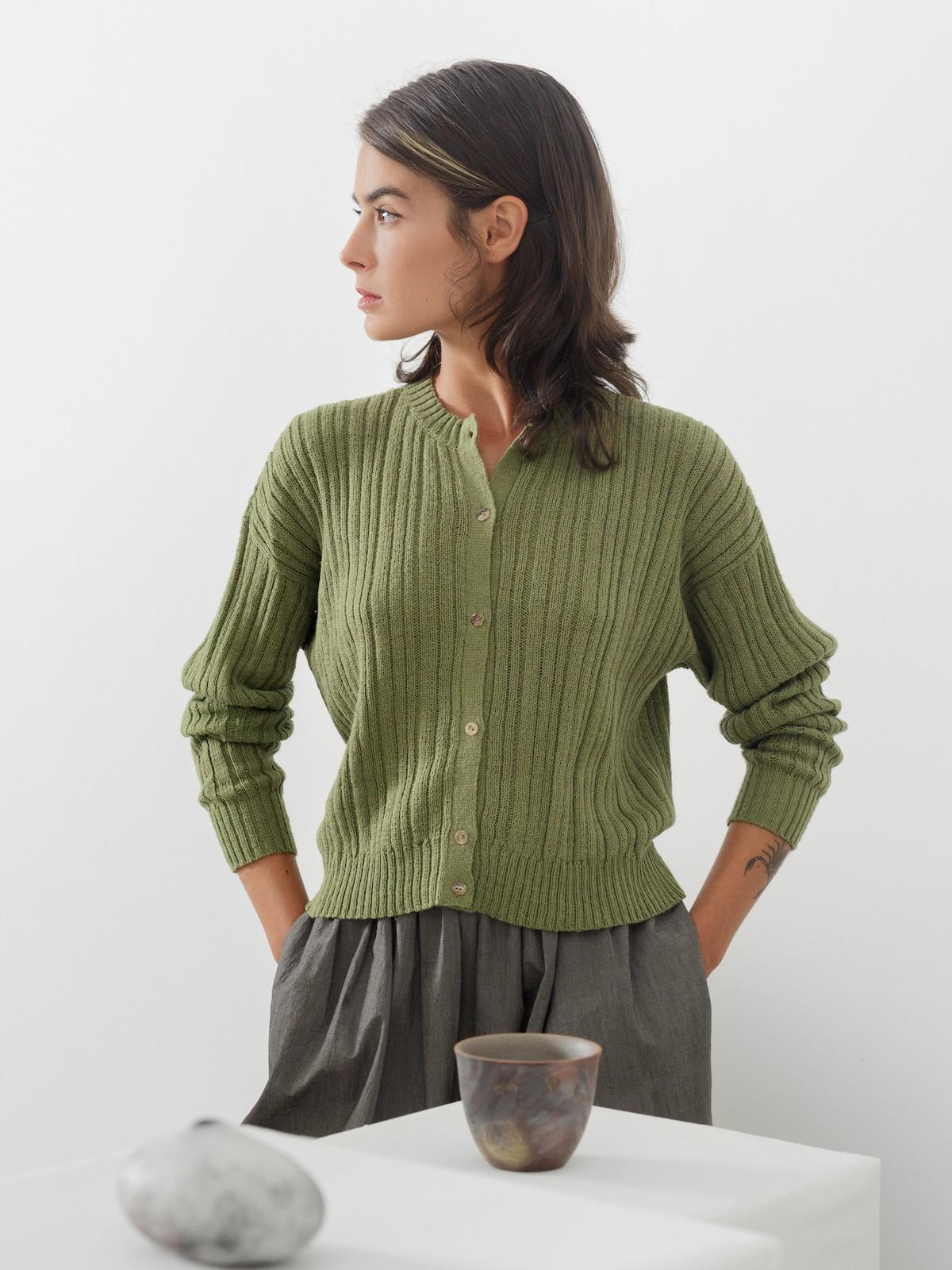 Ribbed linen cardigan Image