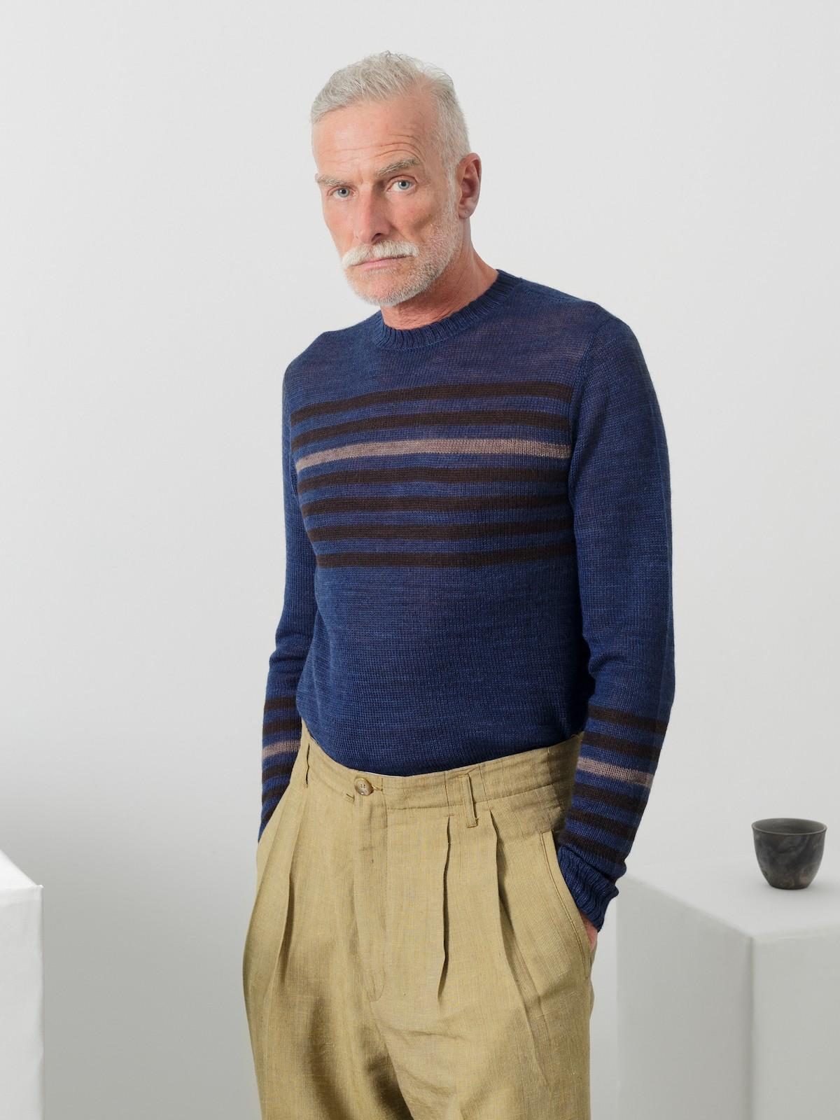 Striped crew-neck sweater Image