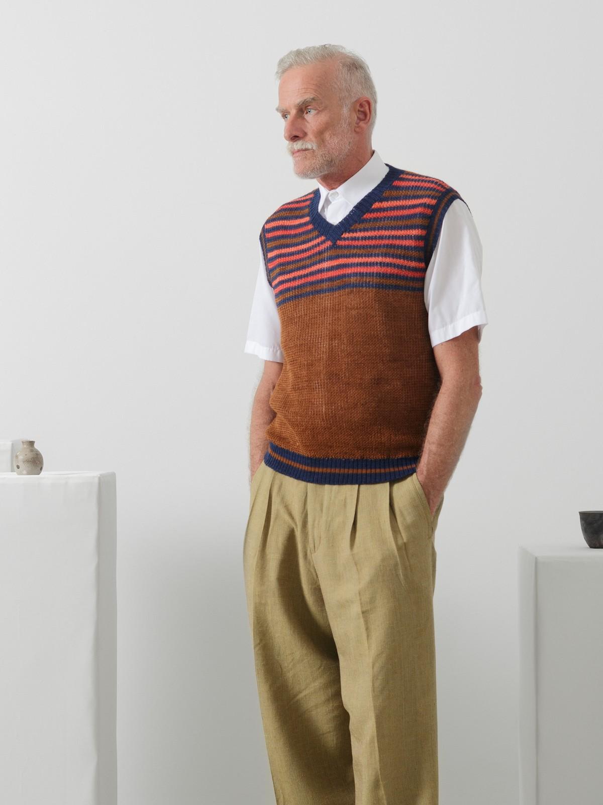 Striped v-neck vest