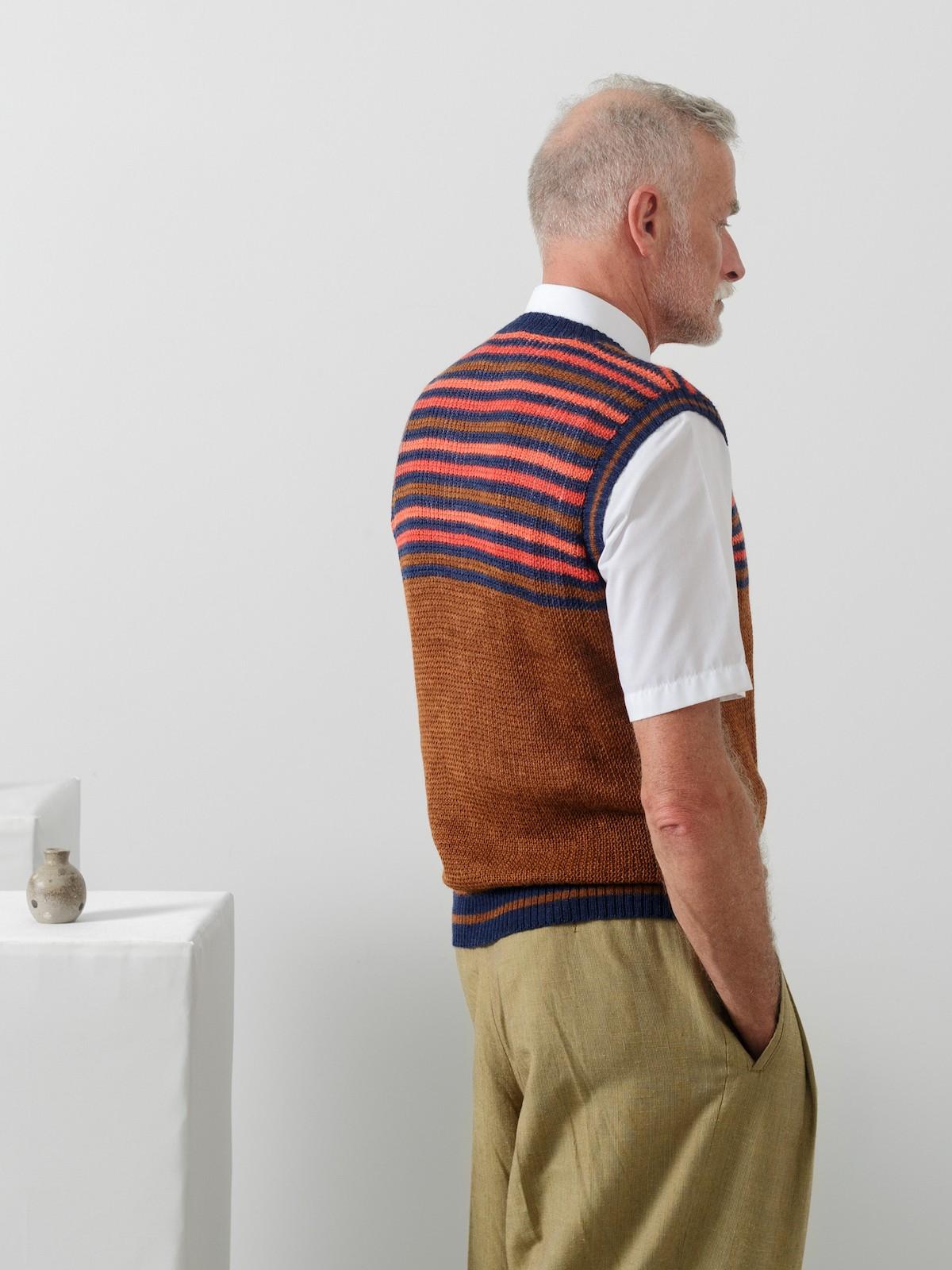 Striped v-neck vest Image