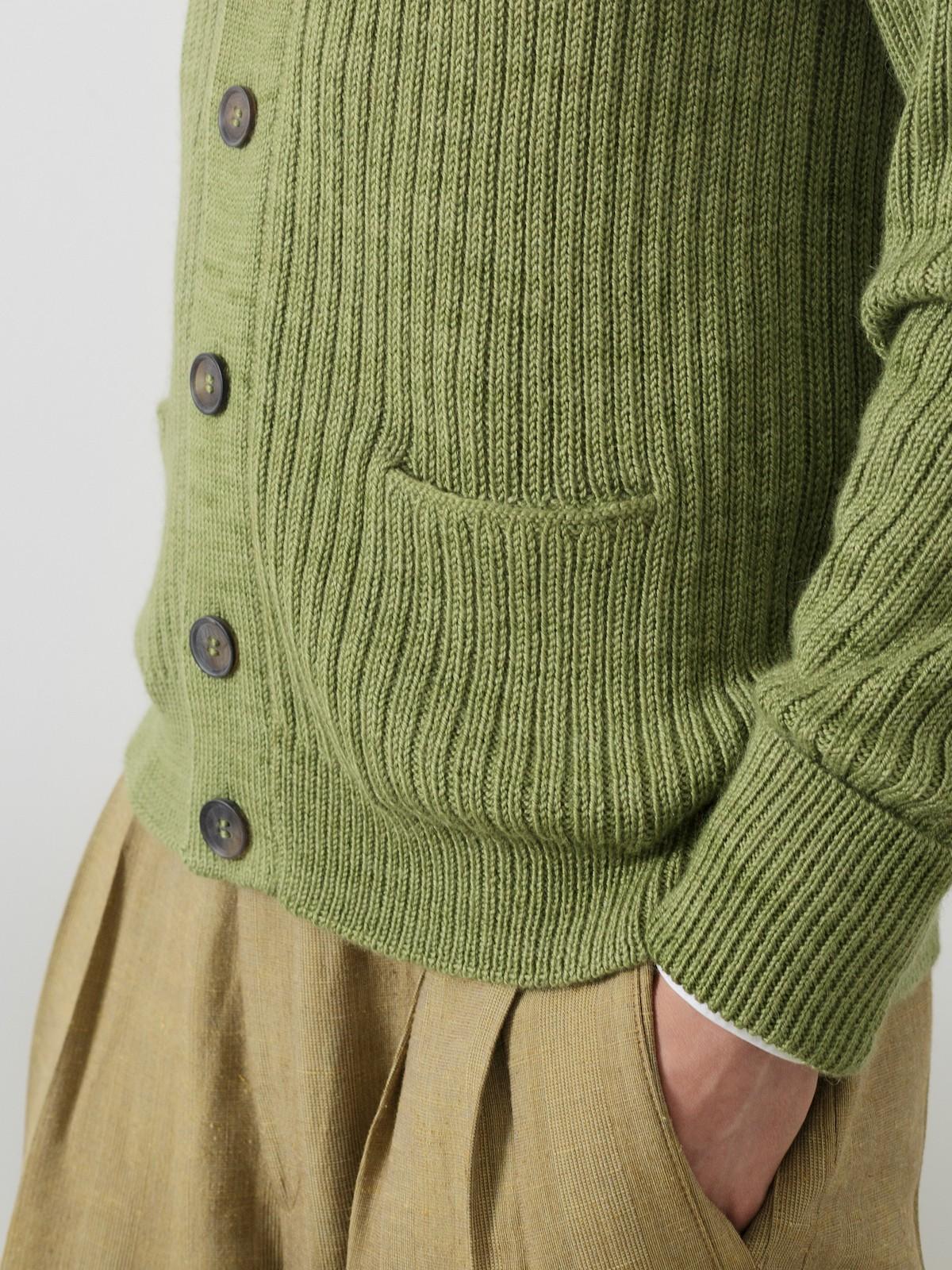 Lapel ribbed cardigan Image
