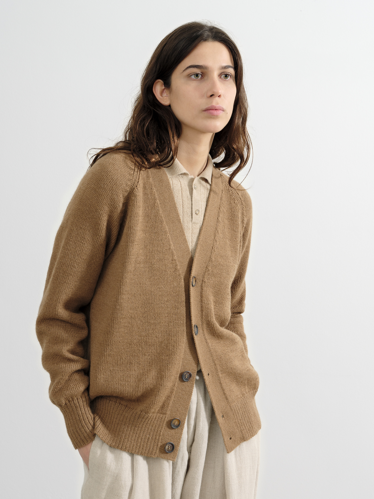 the Cardigan in Natural Camel | by Knitbrary