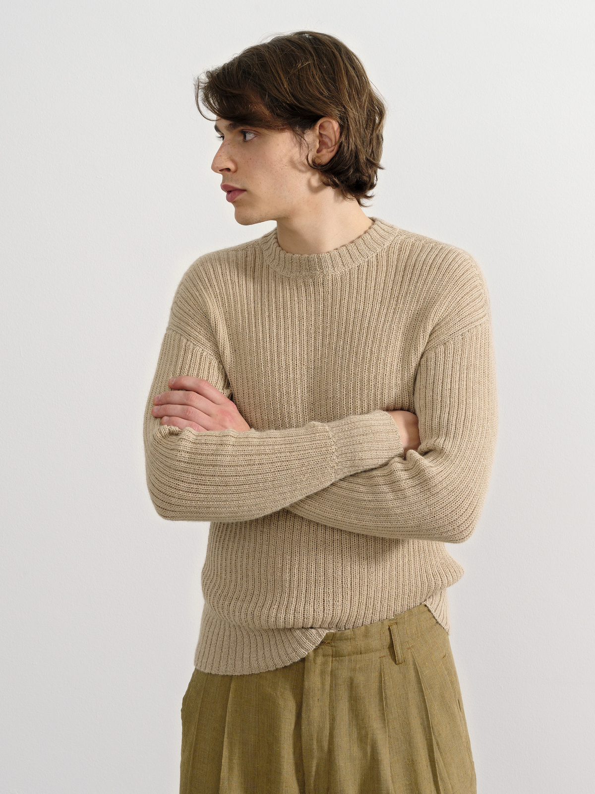 the Ribbed in Natural Beige| by Knitbrary